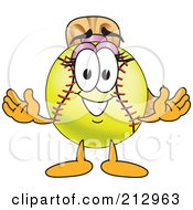 Girly Softball Mascot Character Smiling