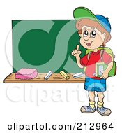 Royalty Free RF Clipart Illustration Of A Smart School Boy Standing By A Chalk Board by visekart