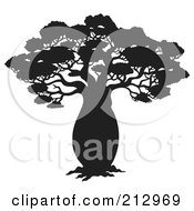 Royalty Free RF Clipart Illustration Of A Black Silhouetted African Tree