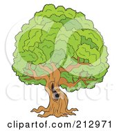 Royalty Free RF Clipart Illustration Of A Hole In A Large Old Tree by visekart