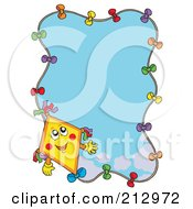 Royalty Free RF Clipart Illustration Of A Happy Kite Framing A Blue Sky