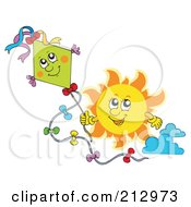 Royalty Free RF Clipart Illustration Of A Sun Flying A Happy Kite