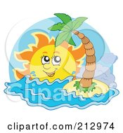 Royalty Free RF Clipart Illustration Of A Happy Sun Shining Over Waves Near A Small Tropical Island by visekart