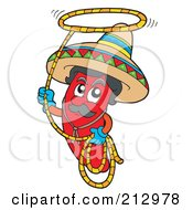 Royalty Free RF Clipart Illustration Of A Red Mexican Chili Pepper Swinging A Lasso by visekart