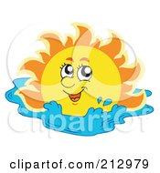 Royalty Free RF Clipart Illustration Of A Happy Sun Swimming