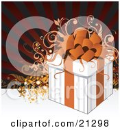 Clipart Illustration Of A White Gift Box Tied With An Orange Ribbon And Bow Over A Scroll And Striped Background by OnFocusMedia