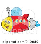 Royalty Free RF Clipart Illustration Of A Happy Submarine