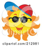 Royalty Free RF Clipart Illustration Of A Happy Sun Wearing A Hat And Shades by visekart