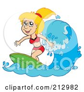 Royalty Free RF Clipart Illustration Of A Happy Blond Woman Surfing A Wave by visekart