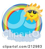 Royalty Free RF Clipart Illustration Of A Happy Sun On A Rainbow Over Clouds