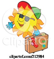 Royalty Free RF Clipart Illustration Of A Happy Sun Carrying Luggage