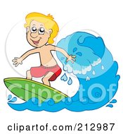 Happy Blond Boy Surfing A Wave