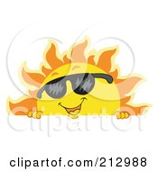 Royalty-Free (RF) Clipart Illustration of a Summer Time Sun Wearing Shades Over A Blank Sign by visekart #COLLC212988-0161
