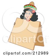 Royalty Free RF Clipart Illustration Of A Mexican Woman Peeking Over A Blank Sign