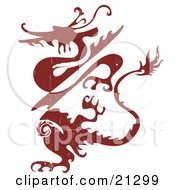 Poster, Art Print Of Grunge Red Silhouetted Dragon Creature