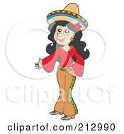 Royalty Free RF Clipart Illustration Of A Pretty Mexican Woman Presenting