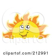 Royalty Free RF Clipart Illustration Of A Summer Time Sun Over A Blank Sign 1
