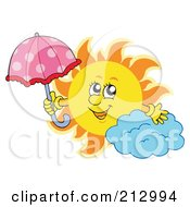 Royalty Free RF Clipart Illustration Of A Summer Time Sun With An Umbrella By A Cloud