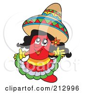 Royalty Free RF Clipart Illustration Of A Female Mexican Chili Pepper Wearing A Sombrero