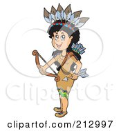 Royalty Free RF Clipart Illustration Of A Native American Woman Holding A Bow And Arrow by visekart