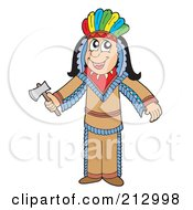 Royalty Free RF Clipart Illustration Of A Male Apache Native American Man by visekart