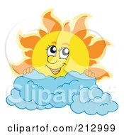 Royalty Free RF Clipart Illustration Of A Summer Time Sun Smiling Over Clouds
