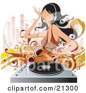 Clipart Illustration Of A Beautiful Black Haired Woman In A Brown Dress Dancing While Listening To Music On A Vinyl Record Through Headphones by OnFocusMedia