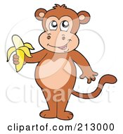 Royalty Free RF Clipart Illustration Of A Cute Monkey Standing With A Banana by visekart