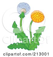 Royalty Free RF Clipart Illustration Of A Dandelion Plant With A Flower And Seedhead