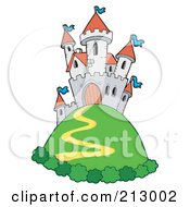 Royalty Free RF Clipart Illustration Of A Path Winding Up To A Castle On A Green Hill by visekart