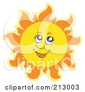 Royalty Free RF Clipart Illustration Of A Summer Time Sun Smiling