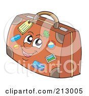 Royalty Free RF Clipart Illustration Of A Stamped Brown Luggage Character by visekart