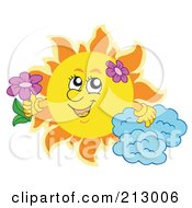 Royalty Free RF Clipart Illustration Of A Summer Time Sun With A Cloud And Flowers