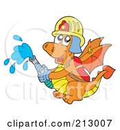 Royalty Free RF Clipart Illustration Of A Green Chinese Dragon Fire Fighter Holding A Hose by visekart
