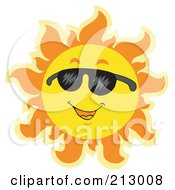 Royalty Free RF Clipart Illustration Of A Summer Time Sun Smiling With Shades 1