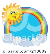 Royalty Free RF Clipart Illustration Of A Rainbow And Cloud Circle With A Summer Time Sun Smiling