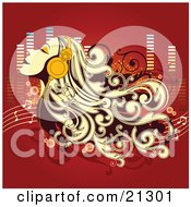 Clipart Illustration Of A Relaxed Woman With Long Blond Hair Tilting Her Head Back In The Breeze While Listening To Music Through Headphones by OnFocusMedia