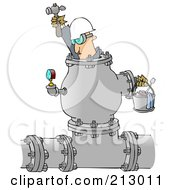 Royalty Free RF Clipart Illustration Of An Industrial Worker Inside A Large Pipe