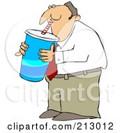 Royalty Free RF Clipart Illustration Of A Chubby Businsesman Gulping A Large Fountain Soda by djart