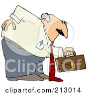 Royalty Free RF Clipart Illustration Of A Chubby Old Businessman Hurting His Back While Bending Over To Pick Up A Briefcase by Dennis Cox