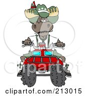Royalty Free RF Clipart Illustration Of A Bull Moose Operating A Recreational ATV Four Wheeler by djart