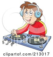 Royalty Free RF Clipart Illustration Of A Male Dj Wearing Headphones And Mixing Records by visekart
