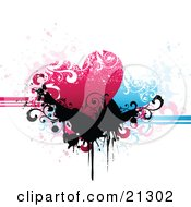 Pink And Blue Hearts Over Black Scrolls And Splatters On A Grunge Background