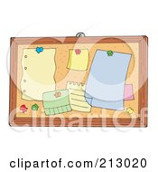 Royalty Free RF Clipart Illustration Of A Bulletin Board With Blank Notes And Pins by visekart