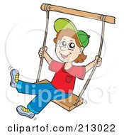 Royalty Free RF Clipart Illustration Of A Little Boy Having Fun On A Swing