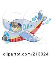 Royalty Free RF Clipart Illustration Of A Happy Pilot Flying An Airplane