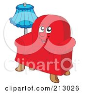 Royalty Free RF Clipart Illustration Of A Blue Lamp By A Red Chair Character by visekart