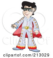 Happy Impersonator Dressed As Elvis
