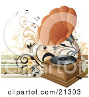 Clipart Illustration Of A Vintage Phonograph With An Orange Cone Playing Music On A Vinyl Record by OnFocusMedia