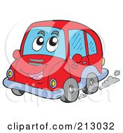 Royalty Free RF Clipart Illustration Of A Red Car Character